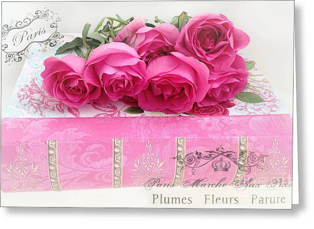 Rose Print Greeting Cards - Paris Pink and Red Roses Photography - Dreamy Paris Romantic Roses On Pink Book With French Script  Greeting Card by Kathy Fornal