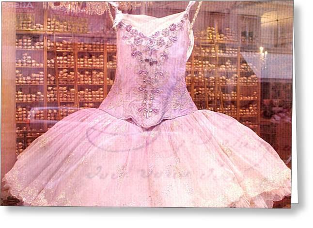 Paris Pink Ballerina Tutu - Paris Repetto Ballet Shop - Paris Ballerina Dress Tutu - Repetto Ballet Greeting Card by Kathy Fornal
