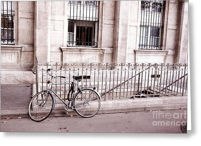 Paris Buildings Greeting Cards - Paris Bicycle Street Art - Paris Dreamy Pink and Black Bicycle Street Scene Architecture Greeting Card by Kathy Fornal