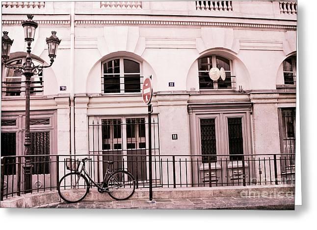 Paris Buildings Greeting Cards - Paris Pink Bicycle Street Lamps - Paris Bicycle Pink Black Architecture Greeting Card by Kathy Fornal