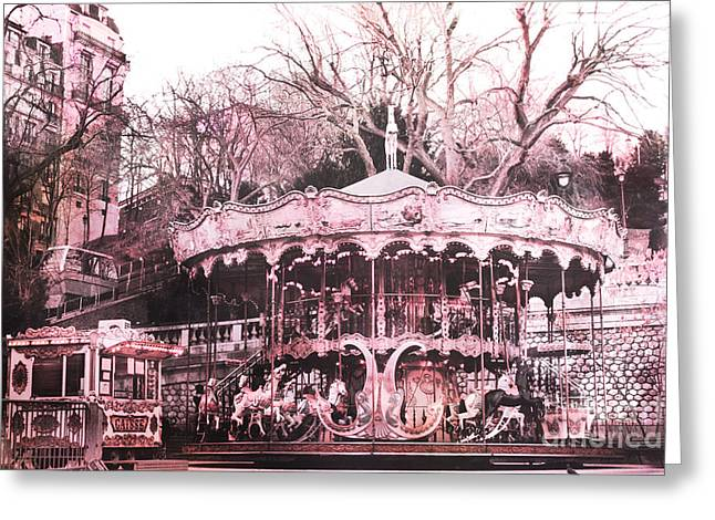Paris Pink Carousel Merry Go Round- Montmartre District Sacre Coeur Greeting Card by Kathy Fornal