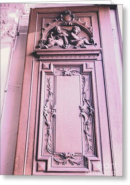 Paris Buildings Greeting Cards - Paris Pink Cherub Door Architecture - Paris Romantic Pink Art Nouveau Door  Greeting Card by Kathy Fornal