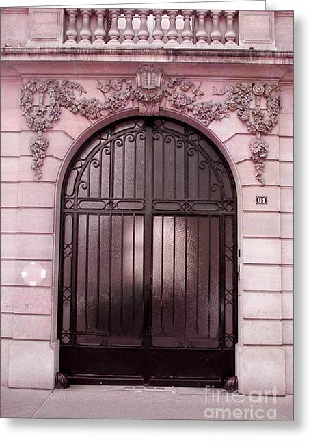 Paris Pink Doors Art Deco - Paris Art Deco Architecture Facade - Romantic Paris Doors Greeting Card by Kathy Fornal