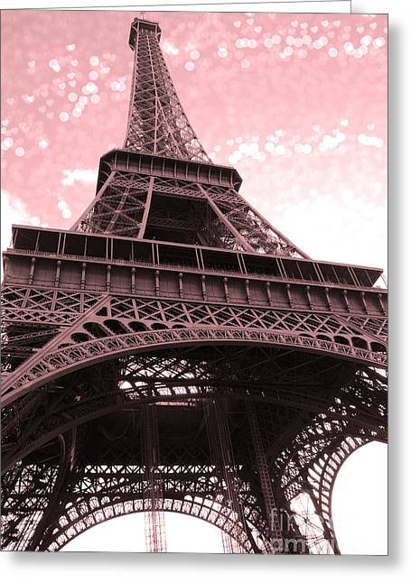 Eiffel Photographs Greeting Cards - Paris Pink Eiffel Tower With Bokeh Hearts and Circles - Eiffel Tower Dreamy Romantic Pink and White Greeting Card by Kathy Fornal