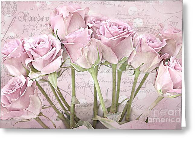 Beautiful Rose Greeting Cards - Paris Pink Impressionistic French Pastel Pink Roses   - Romantic Shabby Chic Pink Roses French Decor Greeting Card by Kathy Fornal