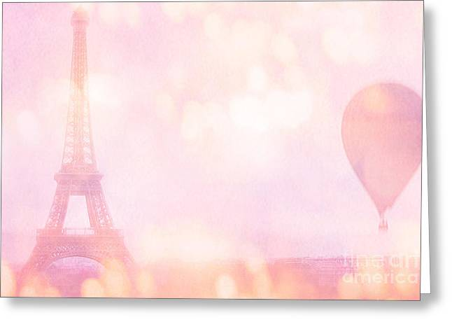 Paris Dreamy Pink Eiffel Tower With Pink Hot Air Balloon - Paris And Balloons Greeting Card by Kathy Fornal