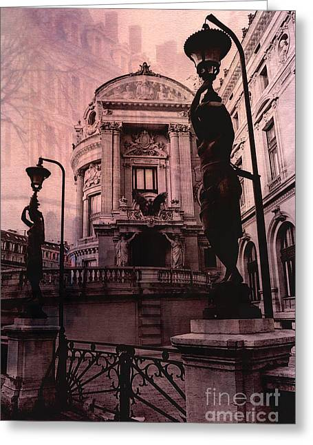 White House Prints Greeting Cards - Paris Pink Opera House - Opera de Garnier Statues and Sculpture Art Deco Greeting Card by Kathy Fornal