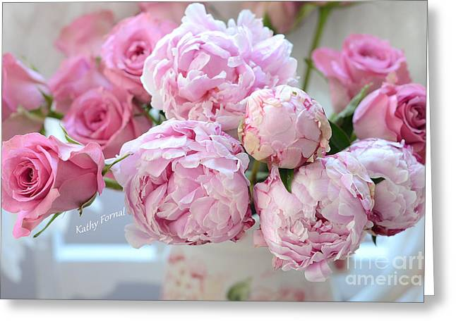 Rose Photos Greeting Cards - Paris Peonies and Roses Shabby Chic Dreamy Peonies - Romantic Paris Peonies and Roses Floral Art Greeting Card by Kathy Fornal