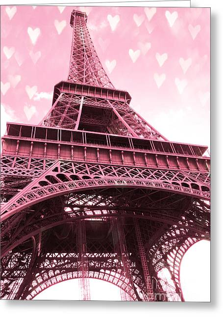 Framed Photos Greeting Cards - Paris Pink Romantic Eiffel Tower Valentine Hearts - Eiffel Tower Baby Pink With Hearts  Greeting Card by Kathy Fornal
