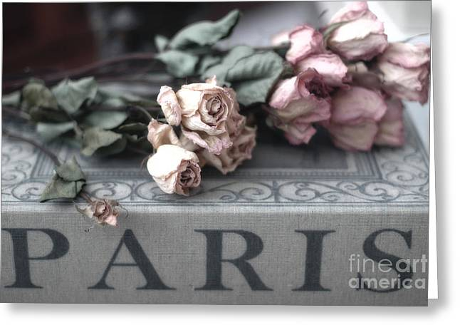 Belles Photographs Greeting Cards - Paris Pink Roses On Book  - Dreamy Romantic Paris Books and Roses - Memories of Paris Greeting Card by Kathy Fornal
