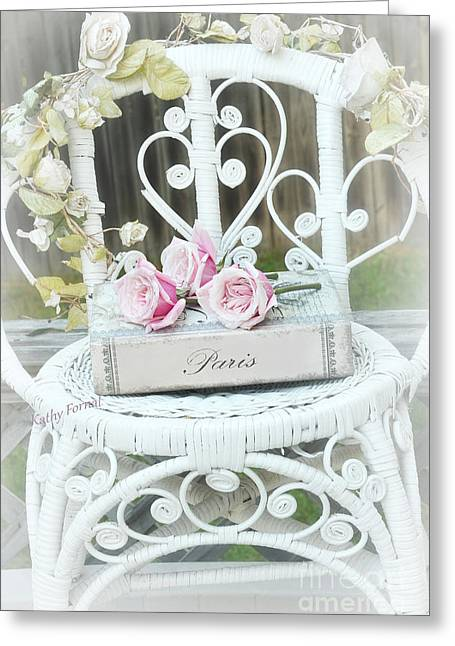 Decor Photography Greeting Cards - Paris Pink Roses Book White Garden Chair - Shabby Chic Paris Book and Roses - Memories of Paris Greeting Card by Kathy Fornal