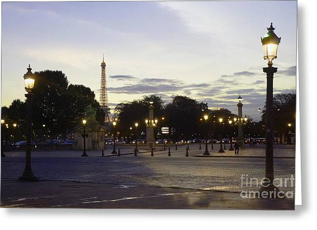 Paris Place De La Concorde Evening Sunset Lights With Eiffel Tower - Paris Night Lights Eiffel Tower Greeting Card by Kathy Fornal