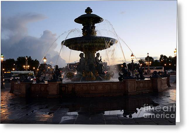 Paris Place De La Concorde Fountain - Paris Dreamy Night Fountain - Place De La Concorde Night Photo Greeting Card by Kathy Fornal