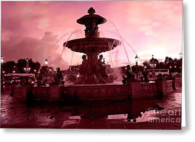 Concorde Greeting Cards - Paris Place de la Concorde Fountain - Paris Dreamy Surreal Pink Night Place de la Concorde  Greeting Card by Kathy Fornal