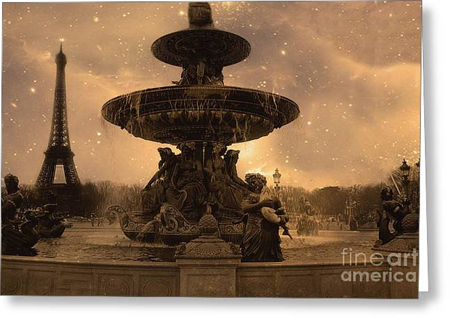 Paris Place De La Concorde Fountain Square - Paris Fountain And Eiffel Tower Sepia Starry Night  Greeting Card by Kathy Fornal