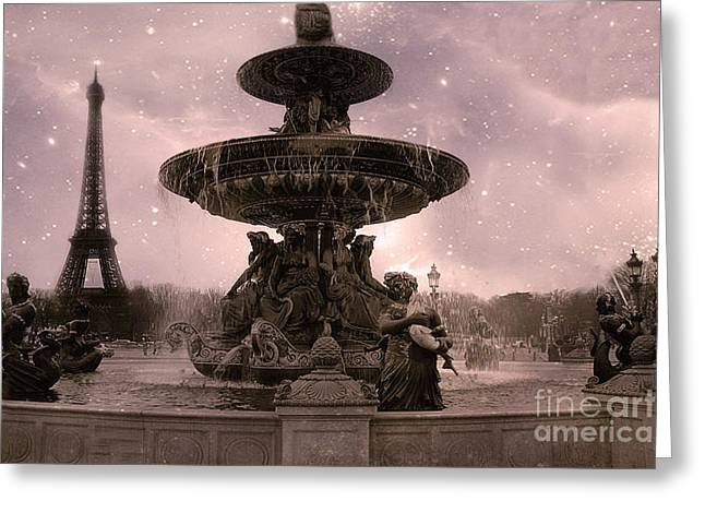 Paris Place De La Concorde Fountain Square - Paris Pink Place De La Concorde Fountain Starry Night Greeting Card by Kathy Fornal