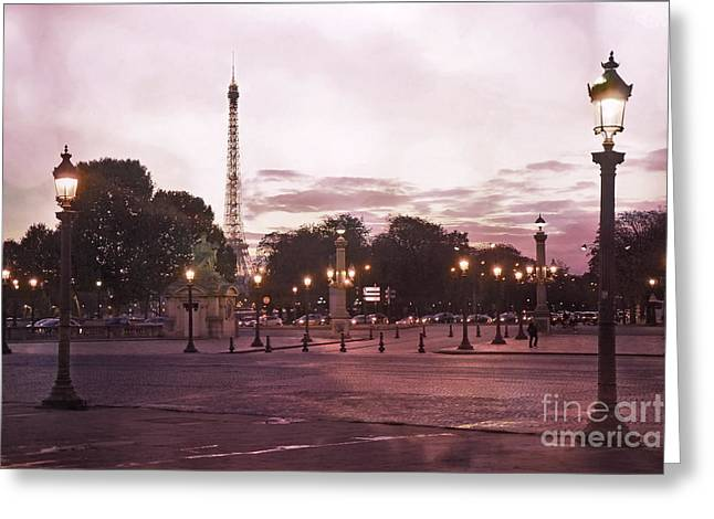 Night Scenes Greeting Cards - Paris Place de la Concorde Plaza Street Lamps - Romantic Paris Lanterns Eiffel Tower Pink Sunset Greeting Card by Kathy Fornal