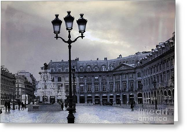 Winter Photos Photographs Greeting Cards - Paris Place Vendome Blue Street Lanterns Lamps and Architecture - Paris Dreamy Blue Photos Greeting Card by Kathy Fornal