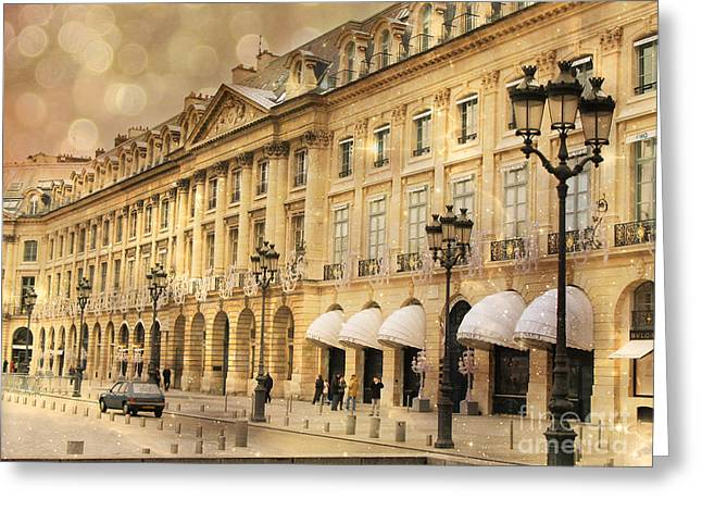 Street Lantern Greeting Cards - Paris Place Vendome Hotel Chaumet Architecture - Paris Hotel Street Lanterns - Paris Black and Gold  Greeting Card by Kathy Fornal