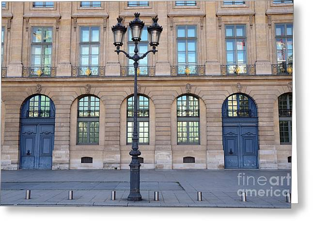 Paris In Blue Greeting Cards - Paris Place Vendome Street Architecture Blue Doors and Street Lamps  Greeting Card by Kathy Fornal