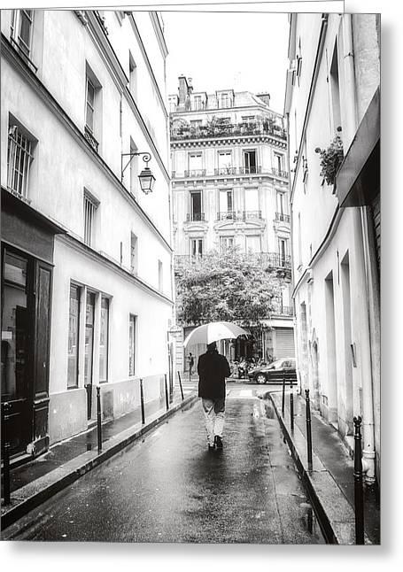 Umbrellas Greeting Cards - Paris - Rain - Sunday Stroll Greeting Card by Vivienne Gucwa