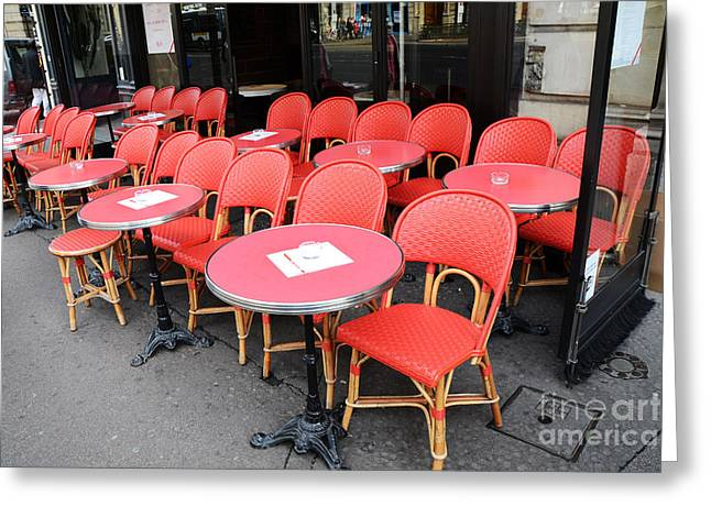 Red Art Greeting Cards - Paris Red Cafe Chairs - Paris Chaise Rouges Sidewalk Cafe -  Paris Cafe Red Chairs Red Tables Greeting Card by Kathy Fornal