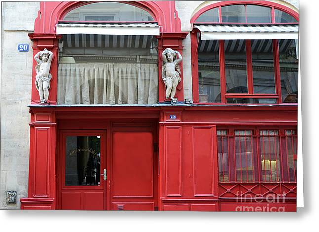 Red Photographs Greeting Cards - Paris Red Door Photography - Paris Red Cafe - Red and White Architecture Art Nouveau Art Deco  Greeting Card by Kathy Fornal