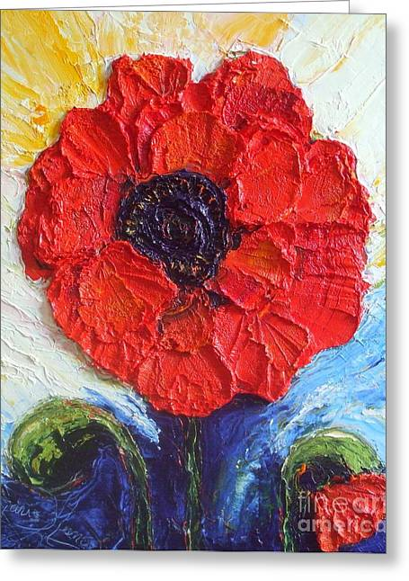 Paris Wyatt Llanso Greeting Cards - Paris Red Poppy Greeting Card by Paris Wyatt Llanso