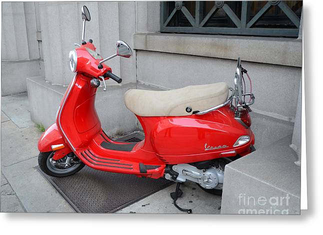 Red Photographs Greeting Cards - Paris Red Vespa Auto Scooter - French Red Vespa - Cherry Red Parisian Vespa Greeting Card by Kathy Fornal
