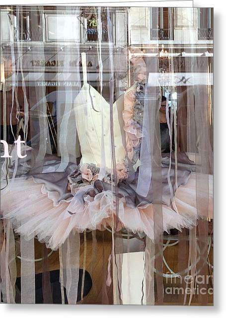 Haute Greeting Cards - Paris Repetto Ballerina Pink Cream Gray Tutu in Window - Paris Ballerina Dress In Window Greeting Card by Kathy Fornal