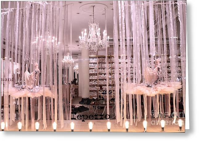 Ballet Art Greeting Cards - Paris Repetto Ballerina Tutu Shop - Paris Ballerina Dresses Window Display  Greeting Card by Kathy Fornal