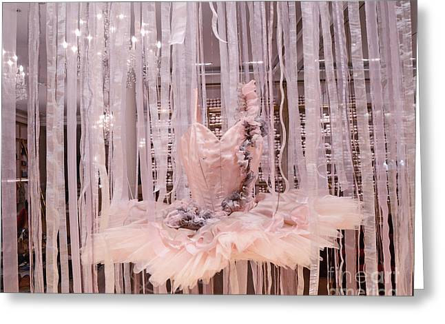 Paris Repetto Pink Ballerina Tutu Dress Shop Window Display - Repetto Ballerina Pink Ballet Tutu Greeting Card by Kathy Fornal