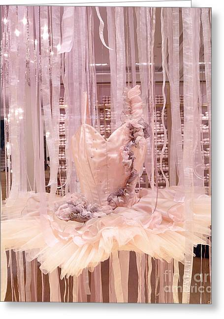 Paris Shops Greeting Cards - Paris Repetto Pink Ballerina Tutu Window Display - Parisian Fashion Ballerina Dress Greeting Card by Kathy Fornal