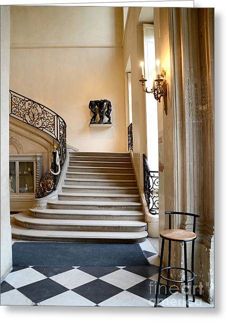 Flooring Greeting Cards - Paris Rodin Museum Entry Staircase and Architecture Greeting Card by Kathy Fornal
