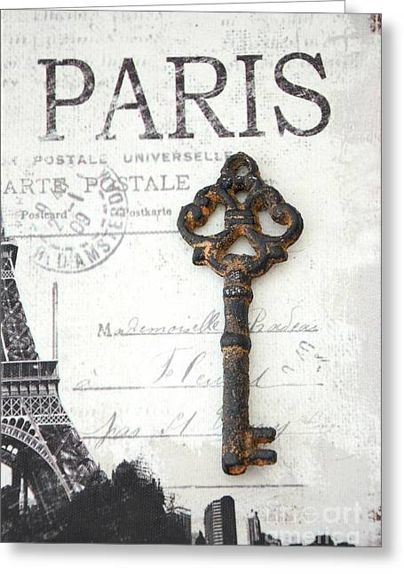 Vintage Key Greeting Cards - Paris Vintage Key Art - Paris Black and White Vintage Key Decor - Paris Books Skeleton Key  Greeting Card by Kathy Fornal