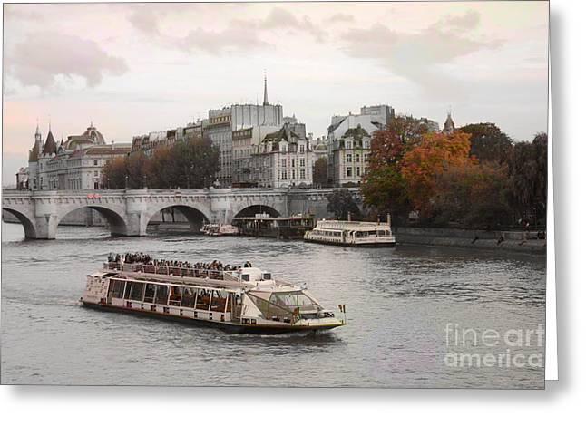 Autumn Prints Greeting Cards - Paris Romantic Bridges Cruise Ship - Paris River Seine Boat - Paris Autumn Fall River Seine Greeting Card by Kathy Fornal