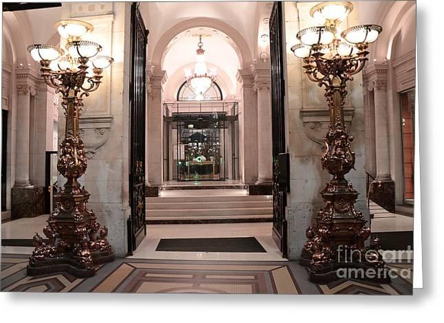 Paris Romantic Hotel Interior Elegant Posh Lanterns Lamps Art Deco Architecture Greeting Card by Kathy Fornal