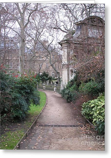 Fountain Print Greeting Cards - Paris Romantic Parks - Luxembourg Gardens - Medici Fountain Park - Pathway to Luxembourg Gardens Greeting Card by Kathy Fornal
