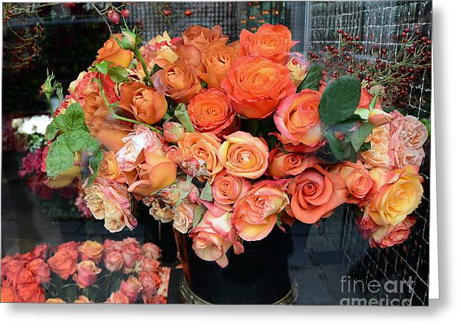Fine Art Flower Photography Greeting Cards - Paris Roses Autumn Fall Peach Orange Roses - Paris Roses Flower Market Shop Window Greeting Card by Kathy Fornal