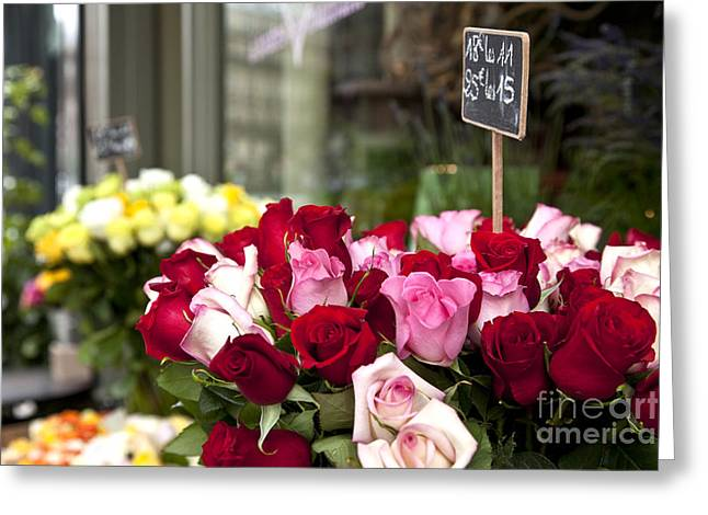 European Flower Shop Greeting Cards - Paris Roses Greeting Card by Brian Jannsen