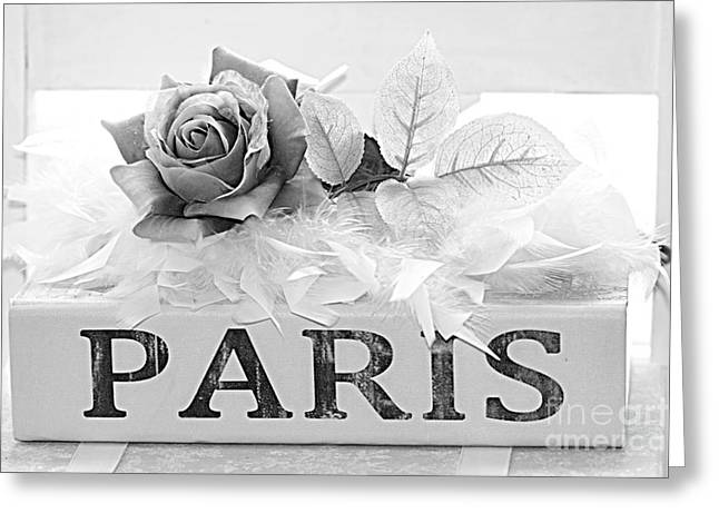 Decor Photography Greeting Cards - Paris Roses Books Photography  - Dreamy Romantic Paris Black White Books Roses Art Deco  Greeting Card by Kathy Fornal