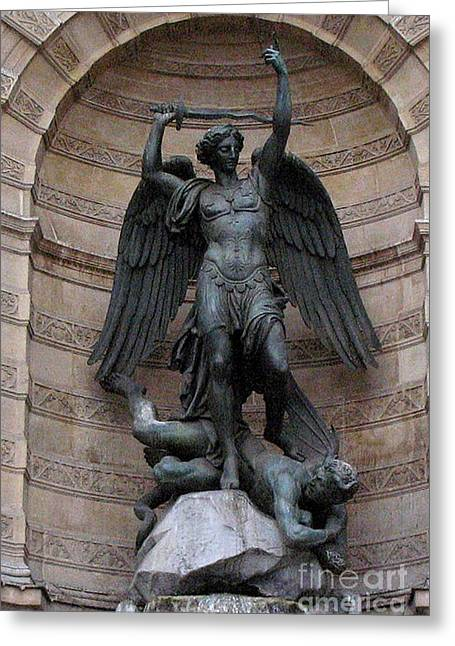 Slay Greeting Cards - Paris - Saint Michael Archangel Statue Monument - Saint Michael Slaying The Devil Greeting Card by Kathy Fornal