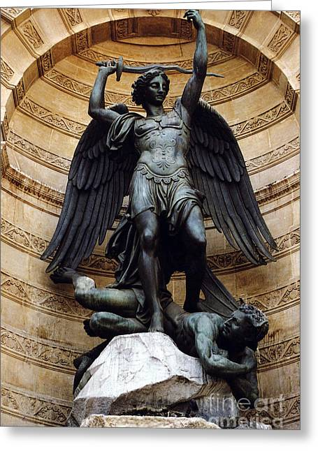 Slay Greeting Cards - Paris-Saint Michael Archangel Statue Monument - St. Michael Fountain Square Greeting Card by Kathy Fornal