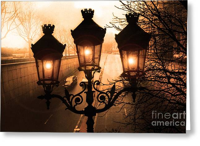 Street Lantern Greeting Cards - Paris Sepia Street Lanterns Lamps - Paris Sepia Autumn Fall Sparkling Sunset Night Lanterns  Greeting Card by Kathy Fornal