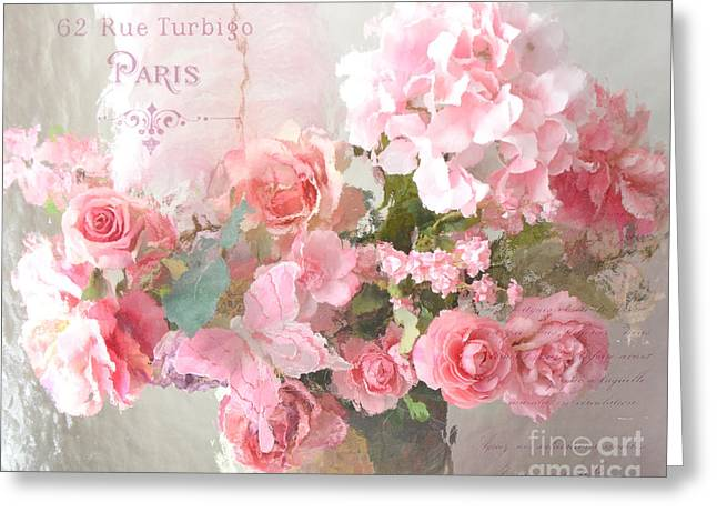 Floral Photos Greeting Cards - Paris Shabby Chic Dreamy Pink Peach Impressionistic Romantic Cottage Chic Paris Flower Photography Greeting Card by Kathy Fornal
