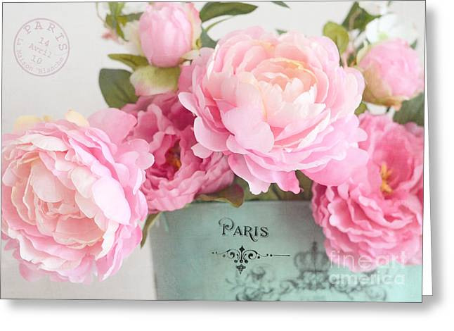 Flower Photographs Greeting Cards - Paris Peonies Shabby Chic Dreamy Pink Peonies Romantic Cottage Chic Paris Peonies Floral Art Greeting Card by Kathy Fornal
