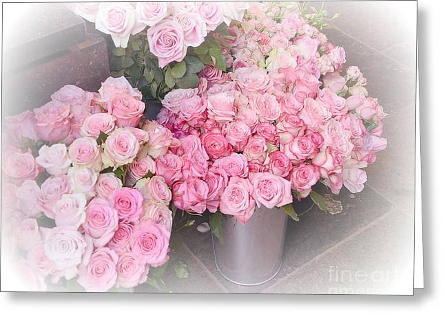 Pink Flower Prints Greeting Cards - Paris Shabby Chic Dreamy Pink Roses - Paris Flower Shoppe - Paris Cottage Romantic Pink Roses  Greeting Card by Kathy Fornal