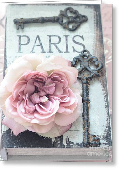 Vintage Key Greeting Cards - Paris Shabby Chic Pink Roses and Vintage Books Key Art - Paris Key Art  Greeting Card by Kathy Fornal