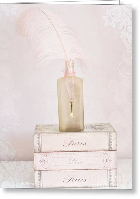 Pastel Pink Greeting Cards - Paris Shabby Chic Romantic Dreamy Paris Pink Books - Vintage Bottle and Key Art Print Greeting Card by Kathy Fornal