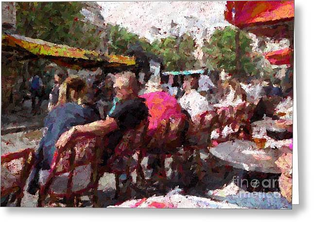Wine Service Photographs Greeting Cards - Paris sidewalk bistro Greeting Card by Barbie Corbett-Newmin